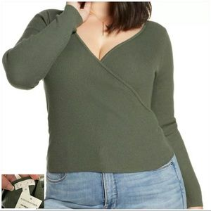 LEITH  NWT  Green Thyme Ribbed Knit Wrap Sweater